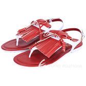 TOD'S 拼色流蘇夾腳平底涼鞋(紅x白) 1520681-49