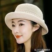 禮帽韓版遮陽帽英倫女士草帽爵士帽出游度假沙灘帽子潮     琉璃美衣