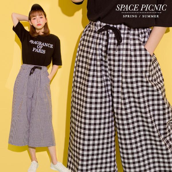 寬褲 Space Picnic|大小格紋圖樣腰抽繩寬褲(現+預)【C17113030】