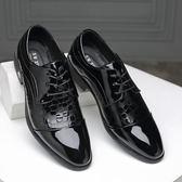 男皮鞋 正裝皮鞋 夏季新款商務皮鞋亮面韓版潮尖頭男士正裝單鞋商務男鞋子《印象精品》q568