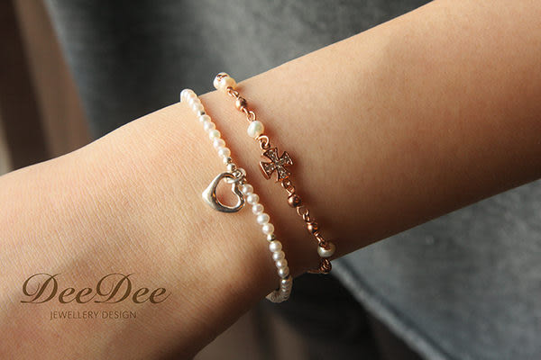 天然正圓珍珠 Tiffany 款愛心 925銀手鍊,DeeDee Jewellery 6月誕生石、生日石,生日禮物