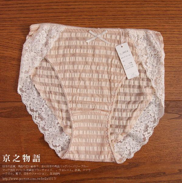【京之物語】特價出清日本製米色橫條紋蕾絲蝴蝶結女性l中腰三角內褲-M。L