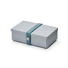 Uhmm Folding No.01 18x10cm 丹麥生活系列 環保折疊式 長方形 午餐盒 - 汽油藍束帶款(淺灰色餐盒)