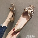 單鞋女2020平底韓版軟底蝴蝶結淺口大碼百搭仙女亮片方頭網紅伴娘 果果輕時尚