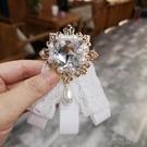 領結 韓國蝴蝶領針黑色蕾絲領結女襯衫領口白色飄帶學院風領花潮甜美