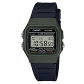 【CASIO】 經典方形金屬色系運動電子腕錶-綠框(F-91WM-3A)
