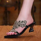 夏季拖鞋 中跟鞋一字拖花朵涼鞋水鑽粗跟涼拖鞋【多多鞋包店】z8059