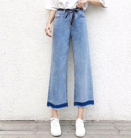 EASON SHOP(GU3189)深藍撞色寬褲九分褲藍色牛仔長褲毛邊抽鬚大撕邊秋裝韓淺藍水洗寬鬆高腰女褲