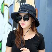 防曬戶外帽子太陽帽女夏季遮陽帽韓版夏天折疊漁夫帽青年登山大沿