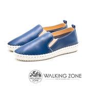 WALKING ZONE 簡約舒適皮革懶人樂福鞋便鞋 男鞋-飽和藍(另有飽和棕)