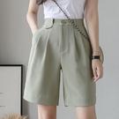西裝短褲 淺綠色五分褲女夏季薄款寬鬆短褲直筒高腰垂感白色闊腿西裝四分褲 韓國時尚週 免運