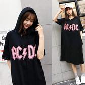 韓版2018春夏新款女裝寬鬆中長款帶帽字母印花T恤大碼短袖連衣裙