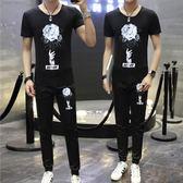 夏季男士新款休閒運動服裝韓版短袖t恤衫情侶款修身長褲子套裝潮   酷男精品館