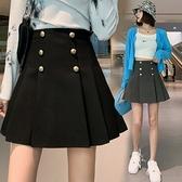 短裙 #2021年春夏新款高腰 雙排扣高腰顯瘦百褶學院風半身裙短裙女