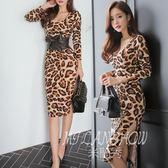 洋裝 氣質性感長袖收腰包臀中長款顯瘦豹紋連身裙 米蘭shoe