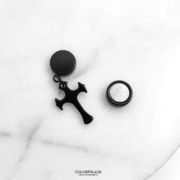 磁鐵耳環 簡約黑十字架鋼耳夾ND771