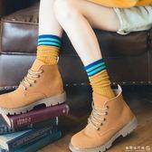 襪子  3雙長襪子女中筒襪學院風日繫夏天堆堆襪春秋款百搭薄條紋純棉襪  歐韓流行館