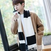 圍巾 韓版新款簡約學生針織毛線圍巾男冬季加厚百搭保暖圍脖年輕人長款