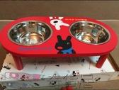 浪哩個浪木架狗盆貓盆寵物盆狗碗貓碗寵物碗雙碗不銹鋼餐具