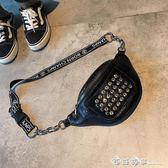 男女通用腰包時尚多功能包胸包女2019新款潮個性鑲鉆鉚釘小包包女 西城故事