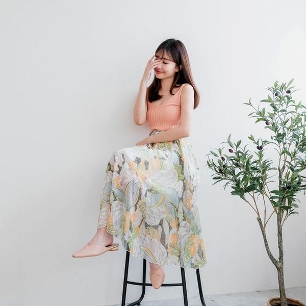 MIUSTAR 女神款!附綁帶腰鬆緊雪紡長裙(共4色)【NH0992】預購
