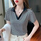 韓版短T 短袖T恤8832#夏條紋立領v領t恤女韓版上衣短袖女裝NE02紅粉佳人
