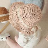 全館83折兒童草帽女童夏天出游防曬遮陽帽子小女孩沙灘帽太陽帽公主盆帽
