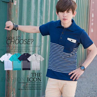 柒零年代【N8657J】夏日陽光質感白色皮革造型口袋條紋短袖POLO衫(SH1142)Self