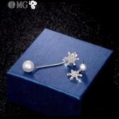 MG 耳環女-S銀針不對稱雪花仿珍珠耳釘趙麗穎林淺耳環女氣質耳墜耳飾
