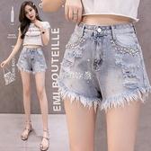 牛仔短褲女夏新款韓版寬鬆學生顯瘦闊腿毛邊釘珠破洞ins熱褲 快速出貨