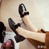 軟妹娃娃小皮鞋女秋季2018新款白色甜美休閒中跟瑪麗珍粗跟仙女單鞋 DN19272『科炫3C』