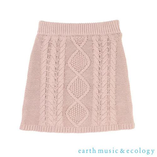 「Hot item」菱格紋麻花編織迷你針織短裙 - earth music&ecology