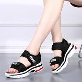 鬆糕涼鞋 2020夏季新款厚底涼鞋女鬆糕坡跟學生運動涼鞋平底韓版魔術貼女鞋 交換禮物