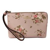 【COACH】PVC皮革花卉手拿零錢包(花卉粉)