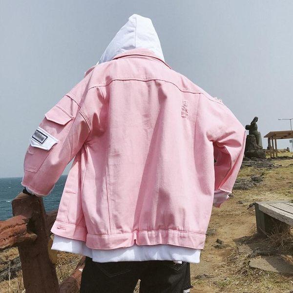 新款牛仔外套男士春秋韓版潮流春季夾克寬鬆帥氣粉紅學生上衣服裝快速出貨