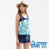 【Summer Love 夏之戀】加大碼幾何印花連身褲二件式泳衣(S18702)