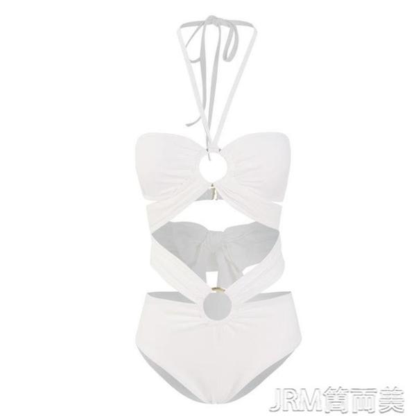 泳衣Swimming復古泳衣歐美性感白色掛脖抹胸分身泳衣女高腰顯瘦比基尼 快速出貨