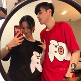 情侶T 2019初夏卡通豬豬新款網紅寬鬆短袖T恤女情侶裝上衣服小眾設計bf 2色M-2XL 交換禮物