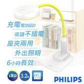 【飛利浦PHILIPS】晶旭可充電式座夾兩用LED檯燈 66024(綠)