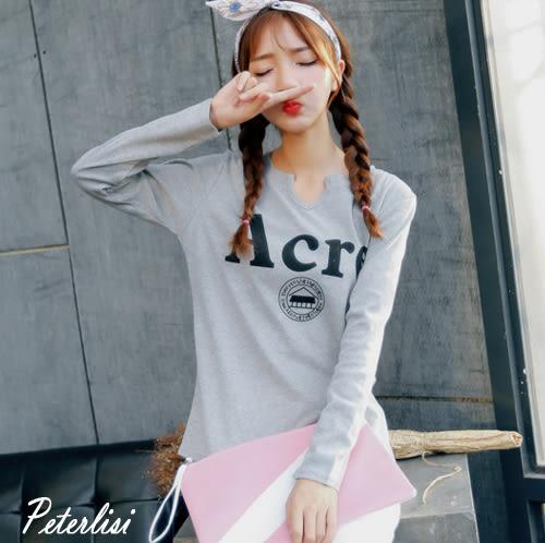 韓版新款修身百搭V領印花長袖T恤 6001A2 彼得麗絲