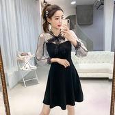 VK精品服飾 韓系蝴蝶結蕾絲拼接復古收腰顯瘦長袖洋裝