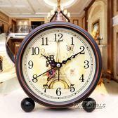 鬧鐘創意學生靜音復古歐式床頭客廳時尚臥室電子小鬧鐘時鐘座鐘