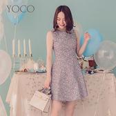 東京著衣【YOCO】法式女伶碎花傘襬無袖洋裝-XS(6010307)
