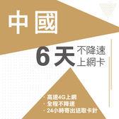 現貨 中國通用 6天 中國移動電信  4G 不降速 免翻牆 免開通 免設定 網路卡 網卡 上網卡