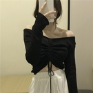 露肩上衣  港味復古素色一字領露肩上衣小心機抽繩系帶長袖針織衫女秋裝新款