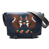 【台中米蘭站】全新品 LOEWE 限量刺繡松鼠牛皮掀蓋斜背包 (藍)