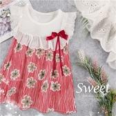 清新條紋花朵蓋袖傘狀上衣(290017)【水娃娃時尚童裝】