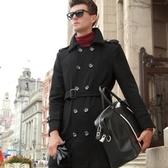 毛呢外套-羊毛修身翻領純色中長款男雙排扣大衣2色72ar17[巴黎精品】