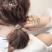 彩色幾何扎頭繩女簡約韓版髮圈韓國ig網紅高彈馬尾皮筋髮繩頭飾