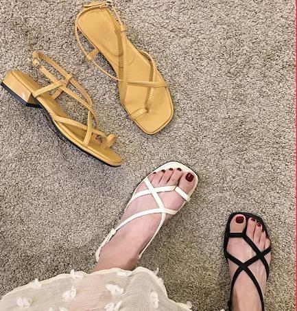 中跟鞋女 粗跟涼鞋女2021年新款夏季時尚細帶仙女風ins潮女士中跟羅馬鞋子 維多原創